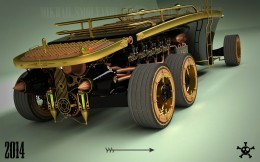 Steampunk 6 wheel land yacht is a car from the future past - Steampunk 6 Wheel Land Yacht Is A Car From The Future Past