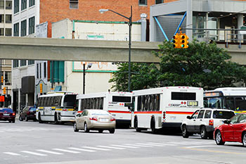 city and suburban buses in downtown Detroit