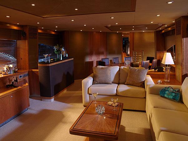 Classy Sunseeker 90 interior. Photo credit: www.thewildfireteam.com