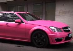 Matte Pink Mercedes C63 AMG Estate