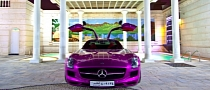 Purple Mercedes SLS AMG
