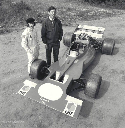 Jackie Stewart, Ken Tyrrell and their March Ford (the only ...